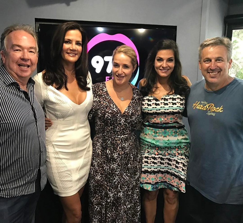 Nicole O'Neil and Krissy Marsh with Bianca, Terry and Bob on 97.3FM Brisbane