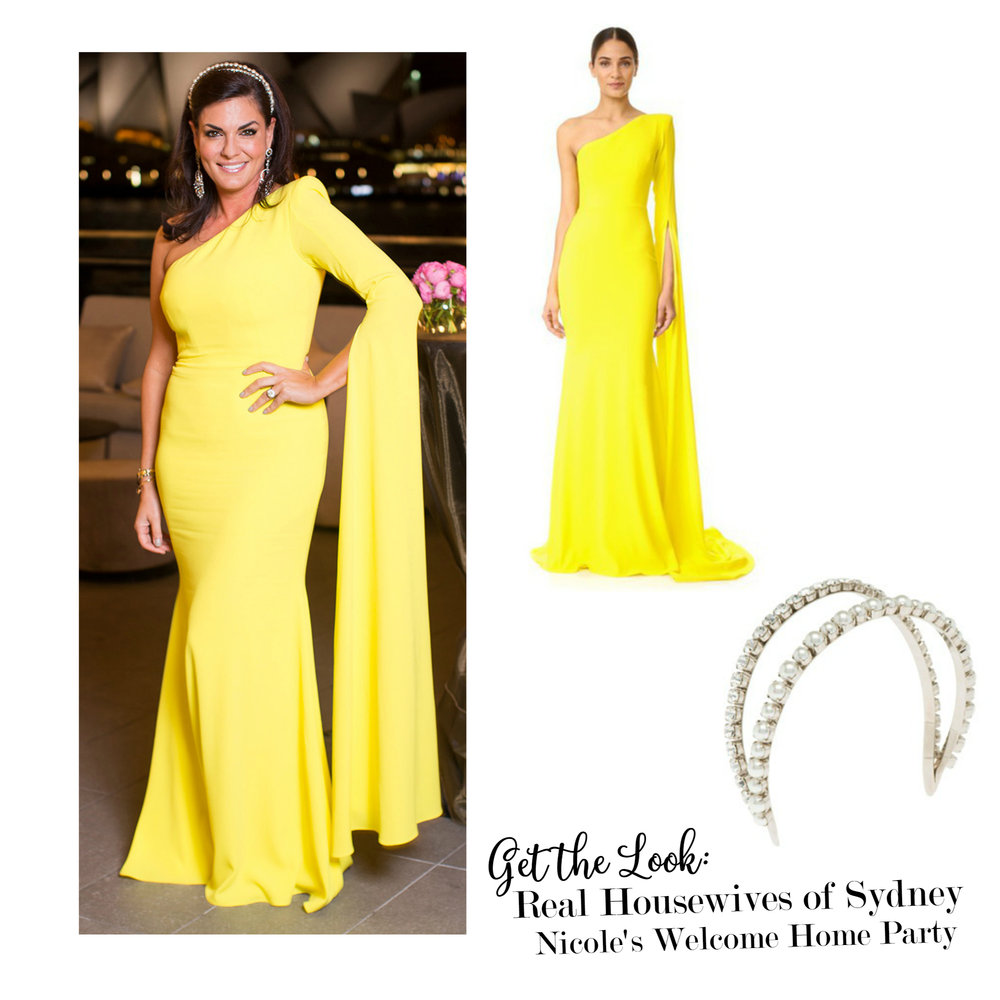 Get the Look - Real Housewives of Sydney Episode 1 Season 1 - Nicole's Welcome Home Party Outfit Details - Alex Perry Aurore Gown Dress and Double Miu Miu Pearl and Crystal Headband