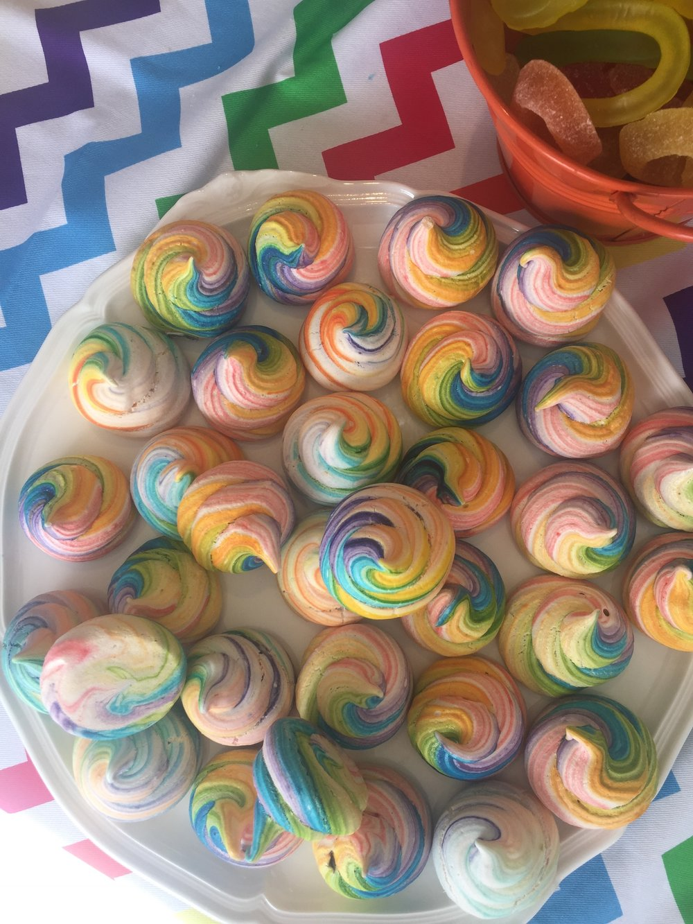 Rainbow Swirled Meringues for Neve's Rainbow Unicorn Themed Birthday Party