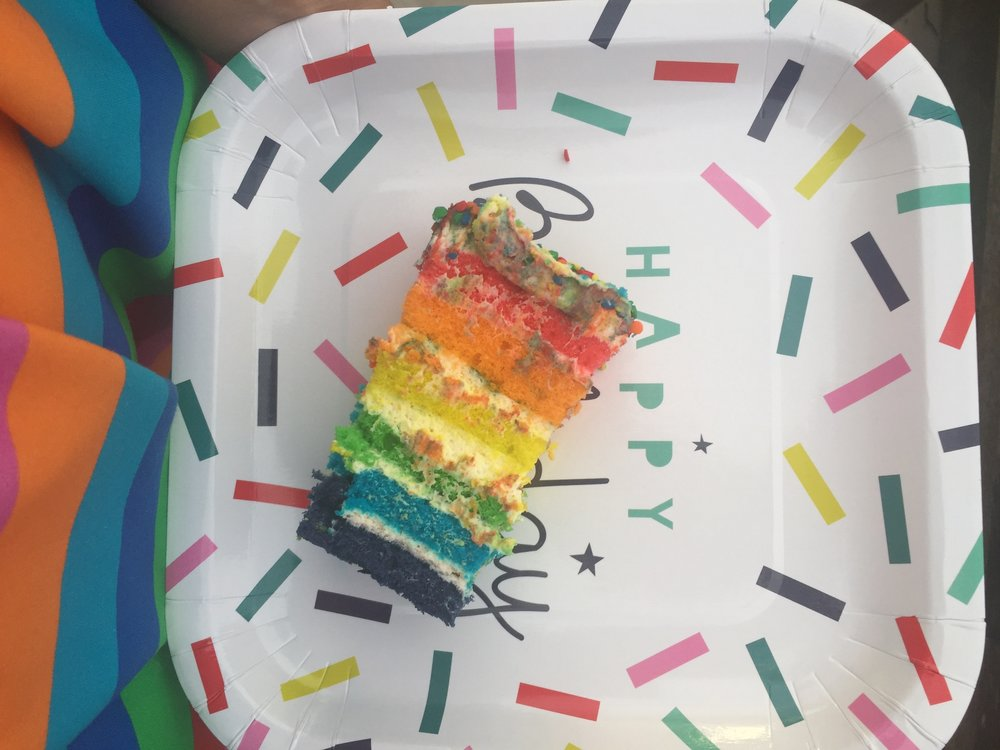 Inside the Rainbow Layer Cake for Neve's Rainbow Unicorn Themed Birthday Party