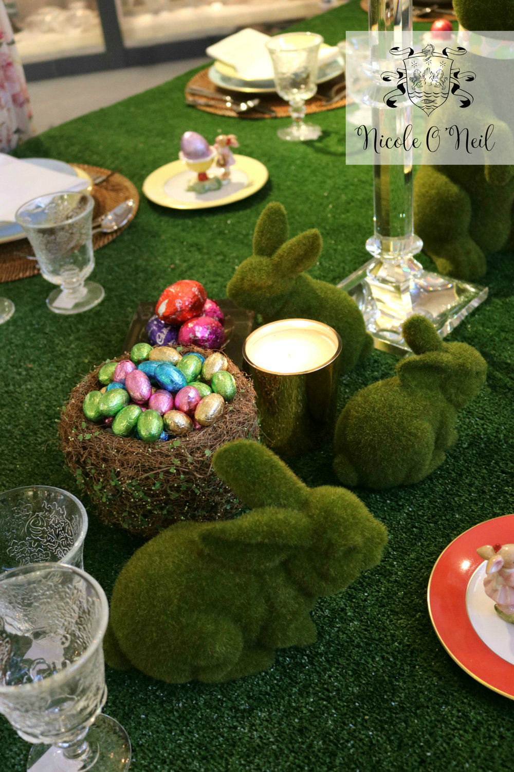 Moss Bunnies and Pastel Coloured Chocolate Easter Eggs - Easter Table Setting Inspiration - How to & How to Create the Perfect Easter Table Setting u2014 Nicole Ou0027Neil ...