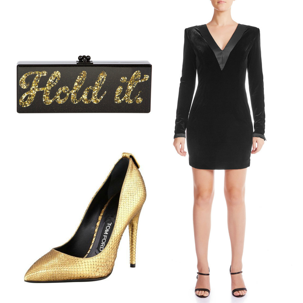 Get the look: The Real Housewives of Sydney's Nicole O'Neil dazzles at Fashion Palette's annual runway show, wearing Haus of Song's Envy Statement Dress with Gold Snakeskin Pumps by Tom Ford, Maha Lozi Hoop Earrings and carries a personalised Black and Gold Glitter Edie Parker Clutch.