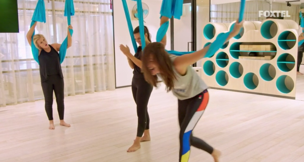Girls having a laugh over aerial yoga - The Real Housewives of Sydney Episode 10 Recap Season 1