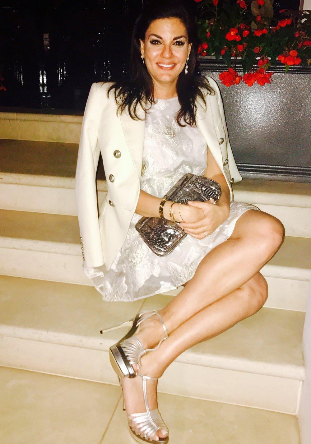 White Nights in London Wearing Balmain Blazer, Topshop Organza Floral Print Dress, Fendi Heels and Zagliani Clutch
