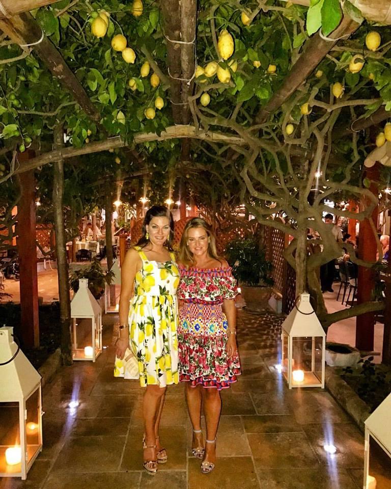 Celebrating Angelique's Birthday in Capri - wearing J Crew Lemon Print Dress, Louboutin Spiked Sandals and Lemon Tiara