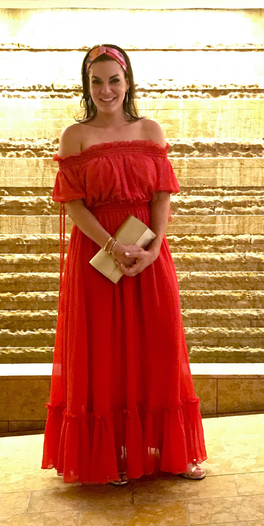 Capri Nights - Wearing Alexander McQueen Red Off the Shoulder Dress, Maha Lozi Earrings with YSL Clutch, Shoes and Gucci Headband