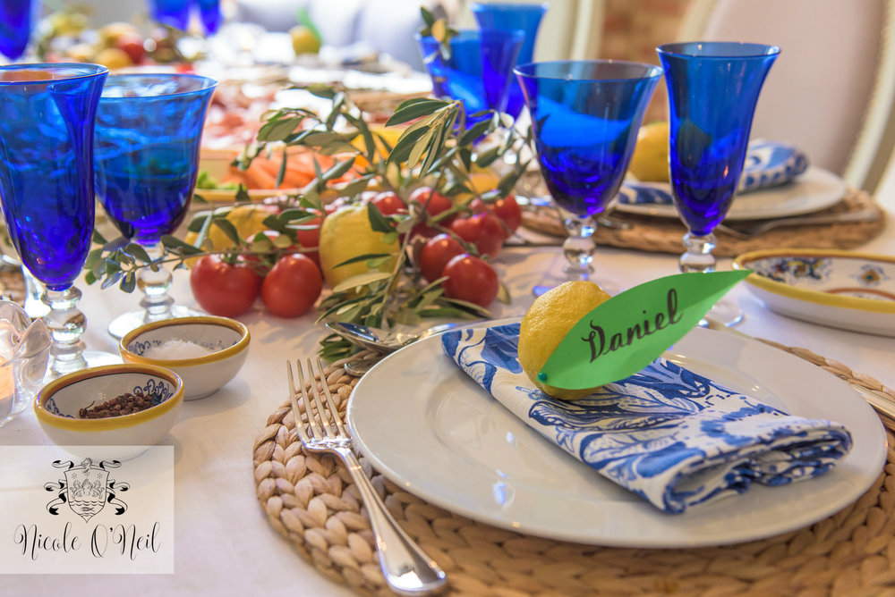 La Dolce Vita Mediterranean Inspired Table Setting for Parties - Lemon, Blue and White Italian Themed Dinner Party Tablescape