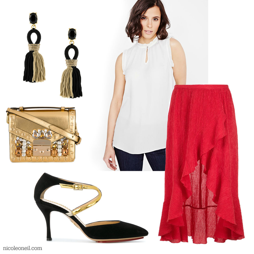 Perfect for Christmas and Holiday Parties, this look combines festive ruffles with gold and sparkles by pairing a bold red skirt with crisp white blouse and black and gold accessories.