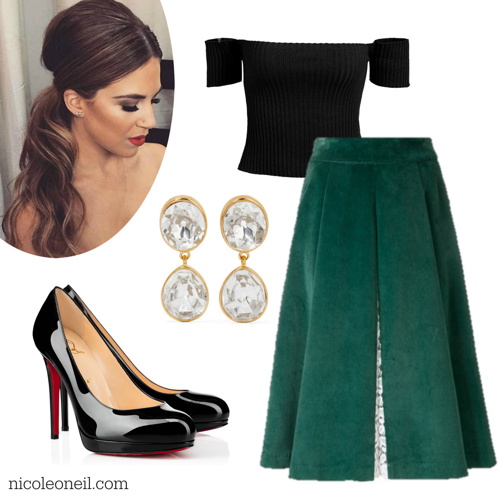 Christmas Party Outfit Inspiration - Green A Line Skirt with Vintage Off The Shoulder Top, Drop Earrings and Low Ponytail