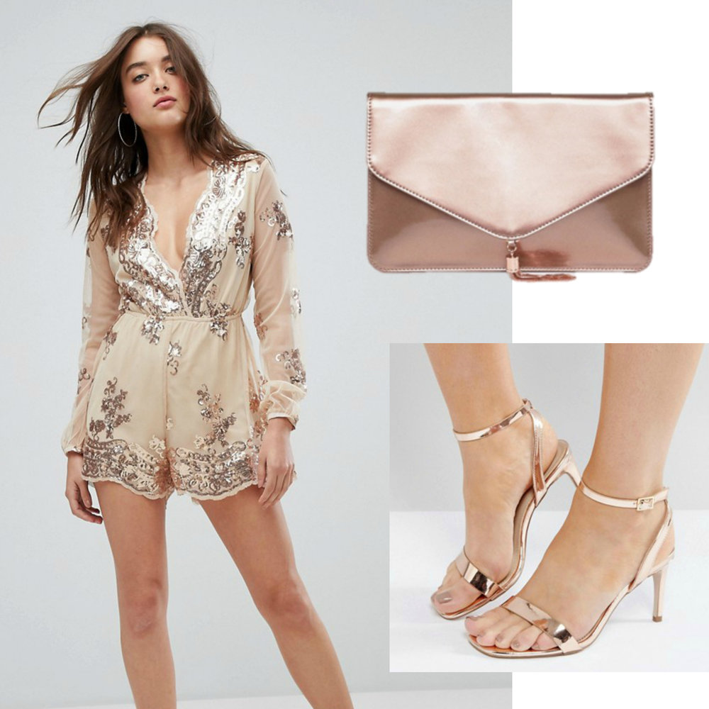 New Years Eve Outfit Idea Under $150  Budget Friendly Party Outfit  Sequin Jumpsuit with Rose Gold Accessories