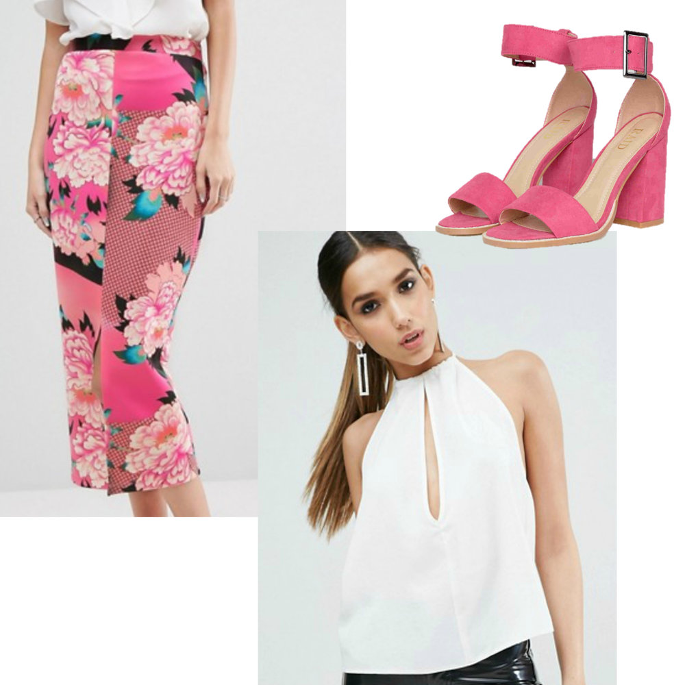New Years Eve Outfit Idea Under $150  Budget Friendly Party Outfit - Bold Pink Printed Pencil Skirt with White Blouse and Pink Heels