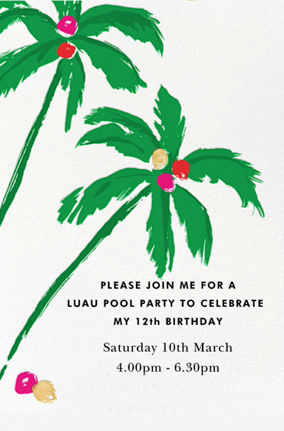 Neve's Hawaiian Luau Pool Party Invitation