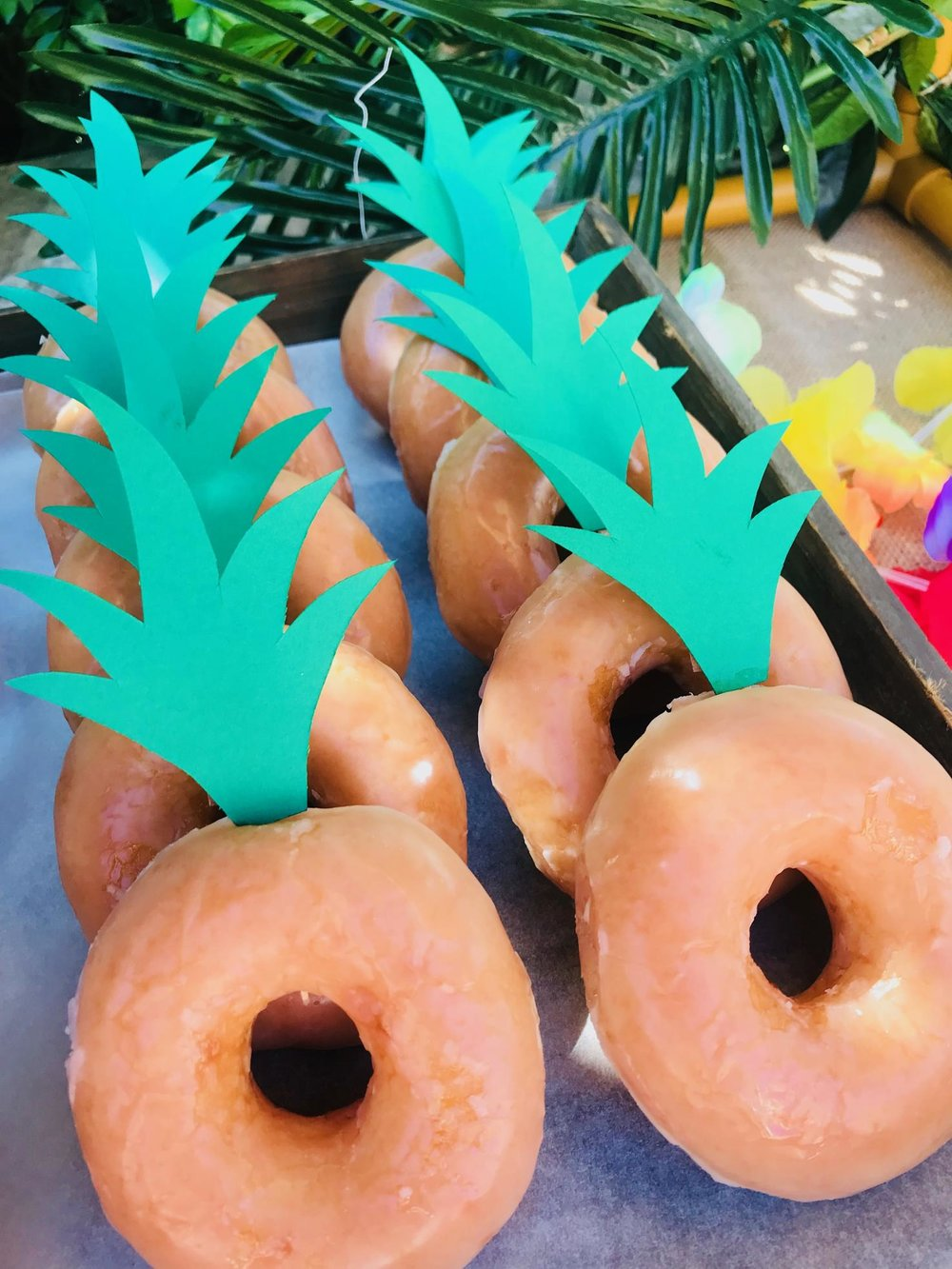 Pineapple Donuts for Neve's Hawaiian Luau Pool Party