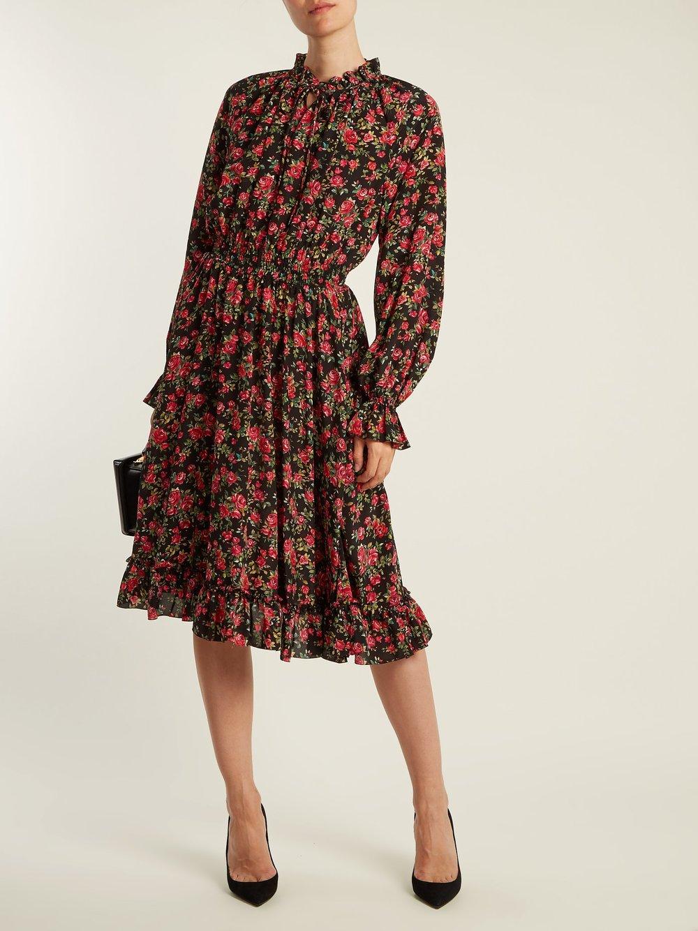 Dolce and Gabbana High Neck Floral Print Silk Dress SAle.jpg