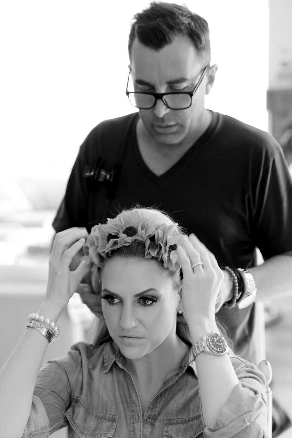 Behind the Scenes of Dolce and Gabbanna Carretto Siciliano Inspired Photoshoot - Hair by Joh Bailey Nora