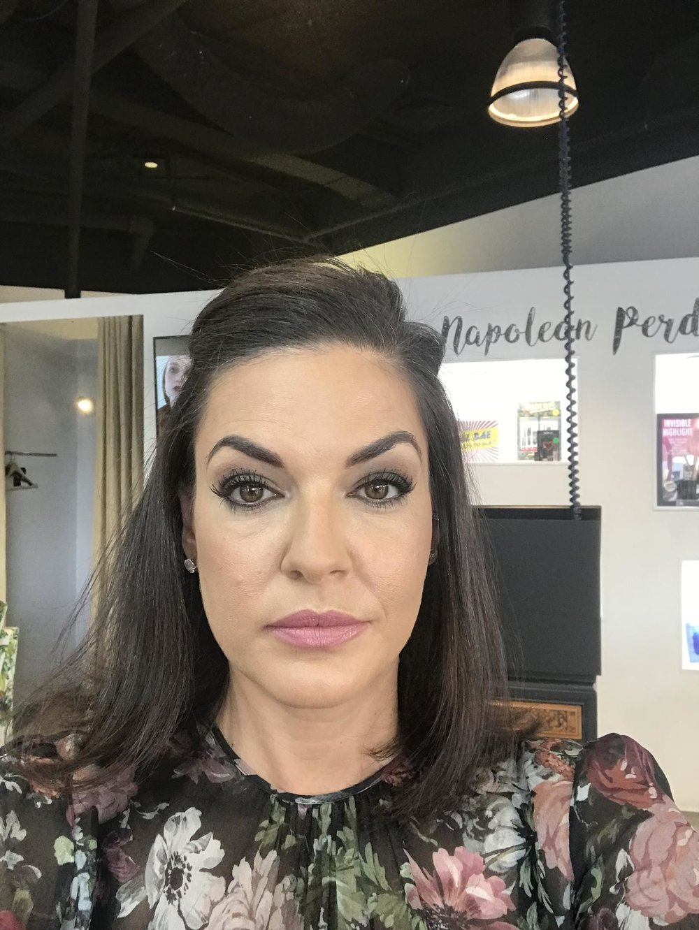 Nicole O'Neil after makeup at Napoleon Perdis