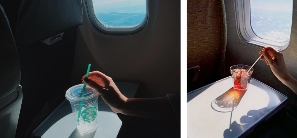 "Kelia Anne MacCluskey, 2016 (left) recreating William Eggleston's famous Airplane shot ""UNTITLED (GLASS IN AIRPLANE"" 1965-74 (right)"