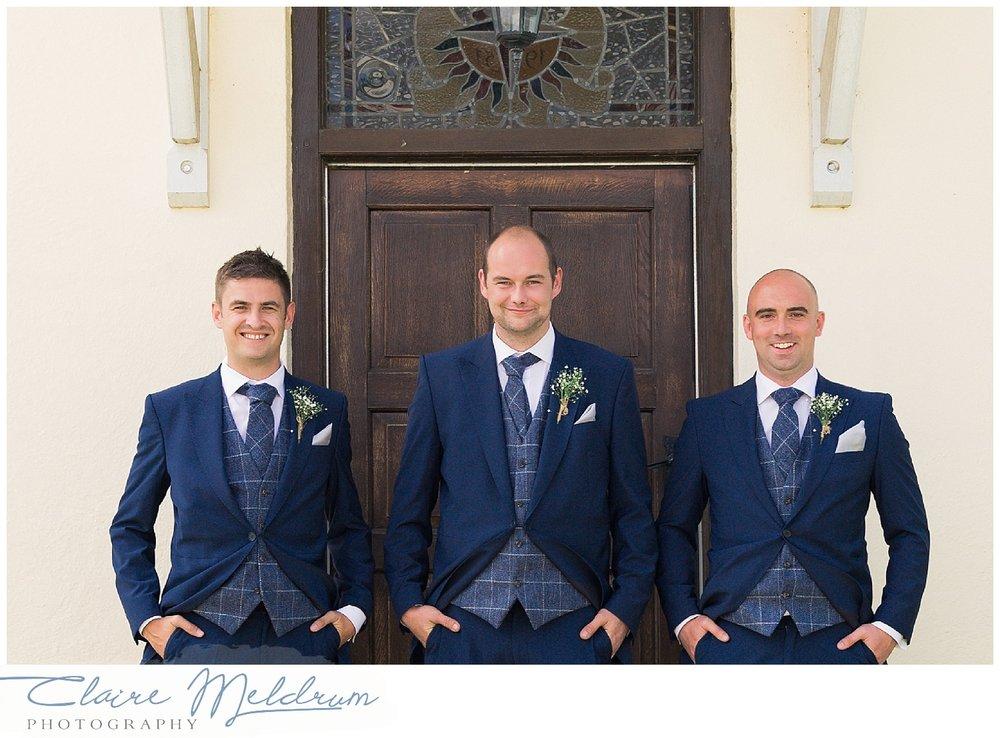 Staffordshire wedding relaxed photography. Debenhams suits. Harris tweed.
