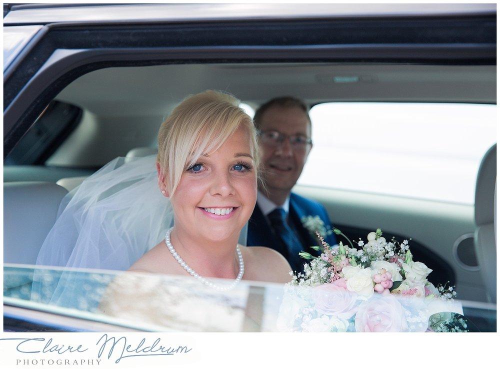 Bride arrival. Park Hall Farm Leigh. Claire Meldrum Photographer