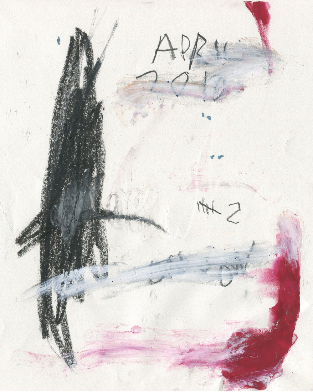 VI , 2016  14 x 11 inches  Crayon, Gouache, Oil Stick, Crayon, Chalk Pastel, and Graphite on Paper  Private Collection