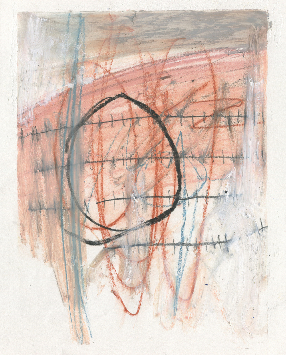 Periodicity , 2016  14 x 11 inches  Crayon, Oil Pastel, Conte Crayon, Graphite and Oil Stick on Paper