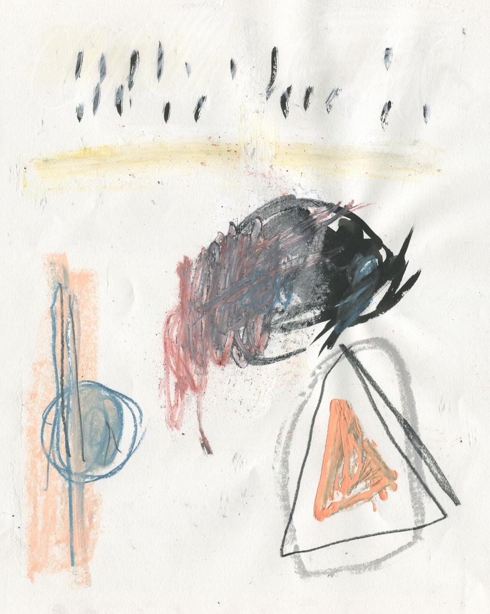 Formative Supposition , 2016  14 x 11 inches  Crayon, Ink, Graphite, Oil Pastel, Gouache and Chalk Pastel on Paper