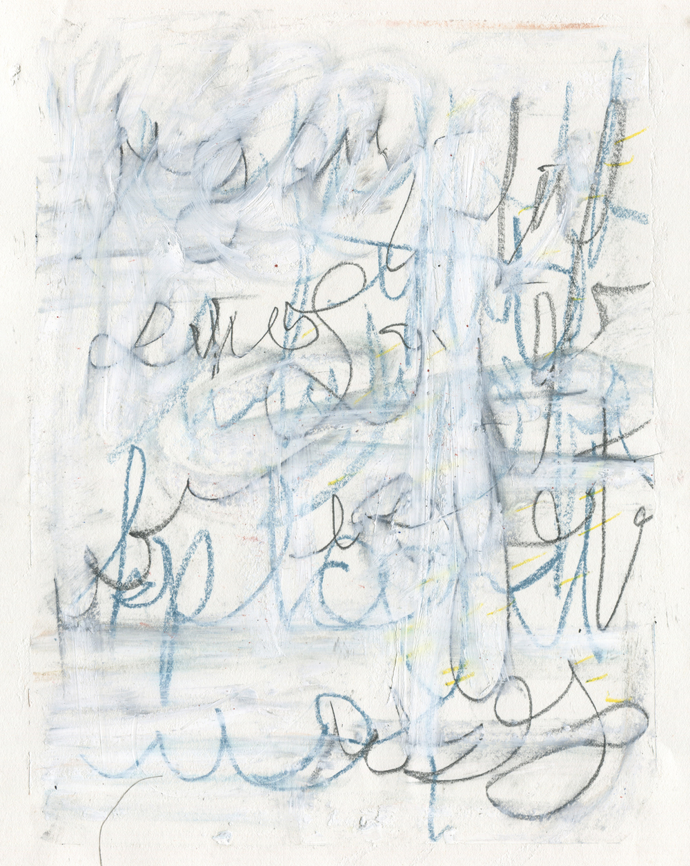 A Lot to Say for Someone With No Answers , 2016  14 x 11 inches  Crayon, Oil Stick, Colored Pencil, Graphite and Chalk Pastel on Paper