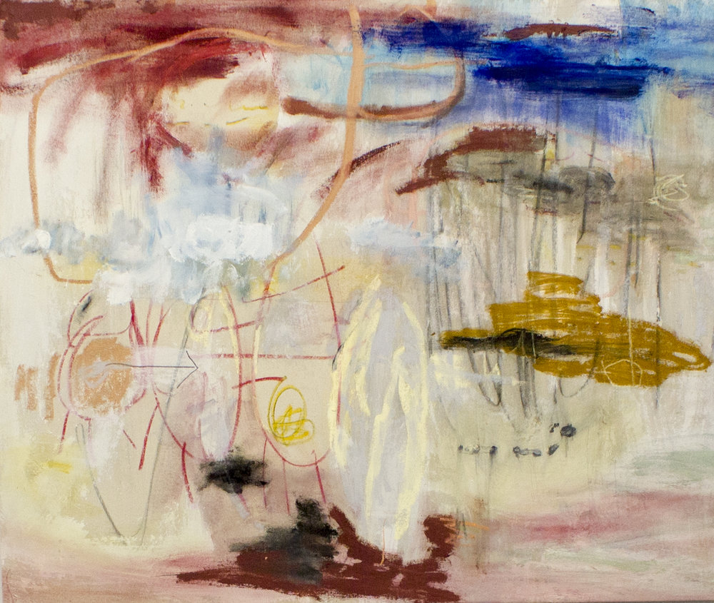 Of All of This, I Am Certain , 2017  42 x 50 Inches  Oil, Acrylic, Graphite, Charcoal, Oil Stick, and Oil Pastel on Canvas  Private Collection