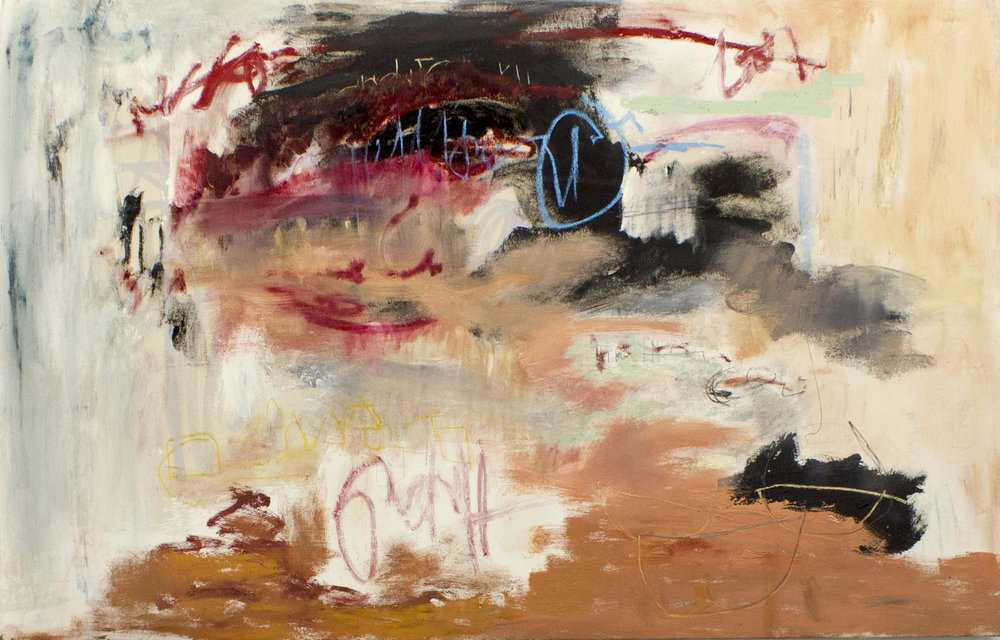 There Is No Greater Sorrow Then to Recall Our Times of Joy in Wretchedness , 2017  72 x 46 Inches  Oil, Acrylic, Graphite, Charcoal, Oil Stick, Chalk Pastel, and Oil Pastel on Canvas