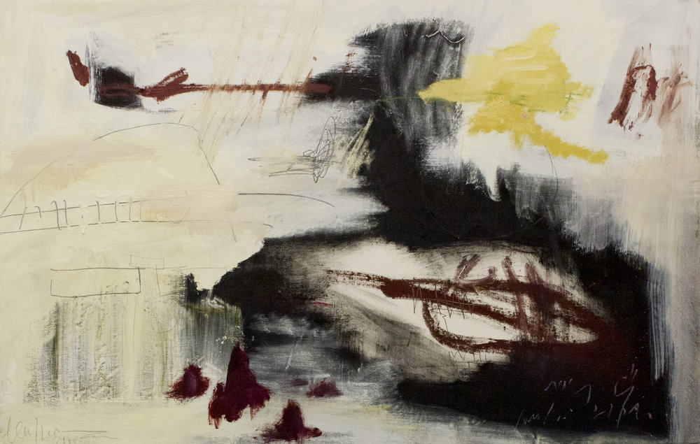 Alone in a Dream: Les Deux Magots , 2017  56 x 36 Inches  Oil, Acrylic, Graphite, Oil Stick, and Crayon on Canvas