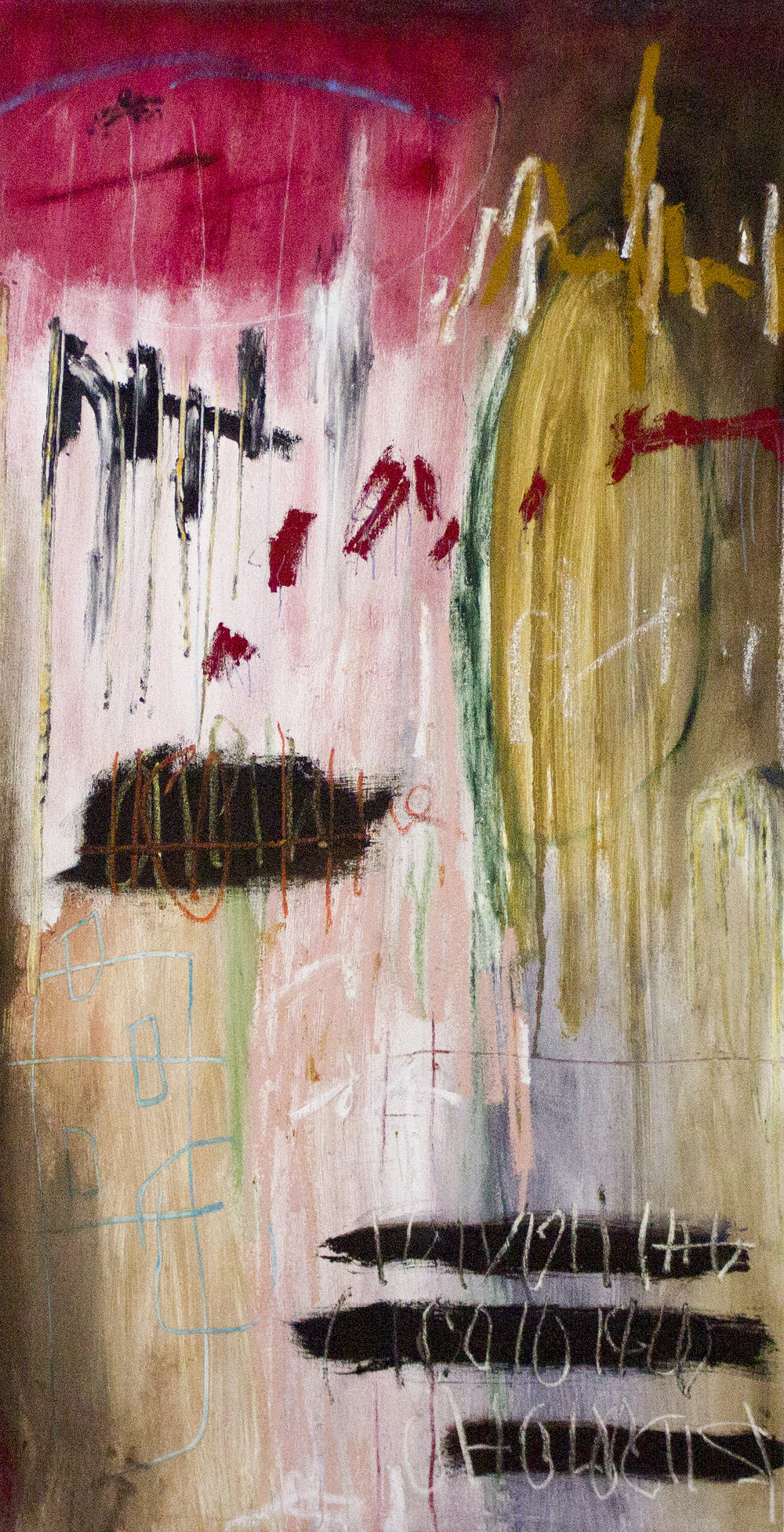 Abandoning Stories of Shangri-La , 2018  54 x 28 Inches  Oil, Acrylic, Oil Stick, Oil Pastel, Colored Pencil and Chalk Pastel on Canvas