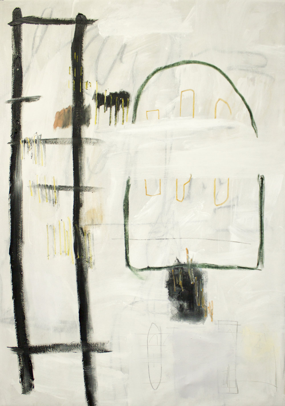 Resting(less) Spaces,  2018  60 x 44 Inches  Oil, Acrylic, Oil Stick, Colored Pencil, Pastel, Graphite and Crayon on Canvas  Private Collection