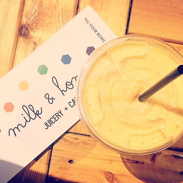 What a beautiful unexpected sunny day to enjoy a Yellow Smoothie to go! 💛💛💛 YUM! 🌞🌞🌞#repost @jilianmurphy . The Yellow Smoothie is made up of: Mango, Peach, Coconut Cream, and Tiger nut milk! 🐅🥜💛 . . . #manchesternh #newhampshire #newengland #nh #milkandhoneyjuicery #juice #smoothie #vegan #vegetarian #cleaneating #healthyeating #healthyfood #healthylifestyle #mango #peach #tigernutmilk #yellowsmoothie #juicebar