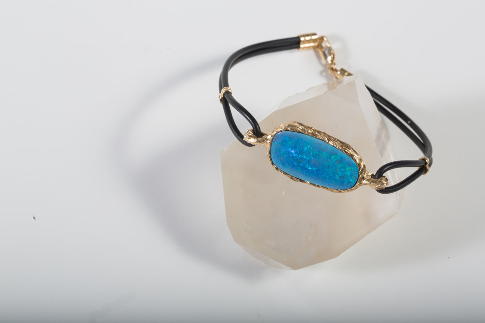 Opal in Textured 14k Yellow Gold Frame on Neoprene Cord $1,975