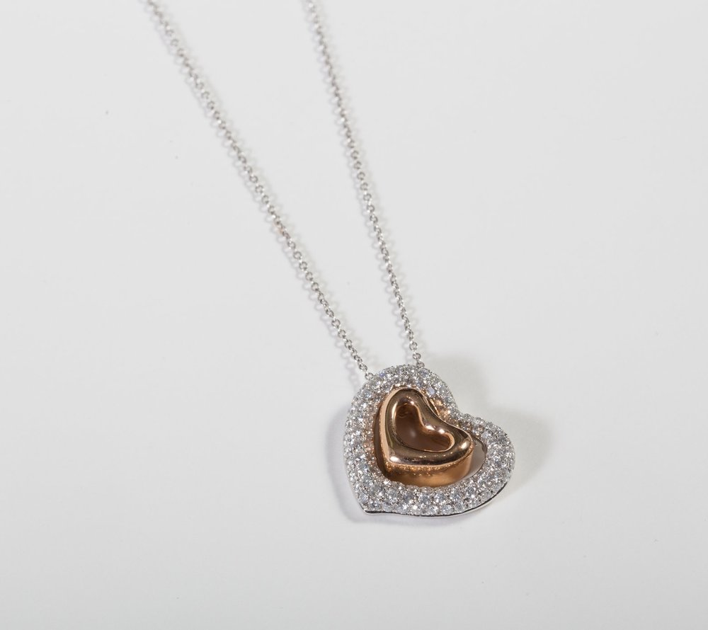 Pave Diamond Heart Pendant with Removable 18k Rose Gold Center Heart $3,595
