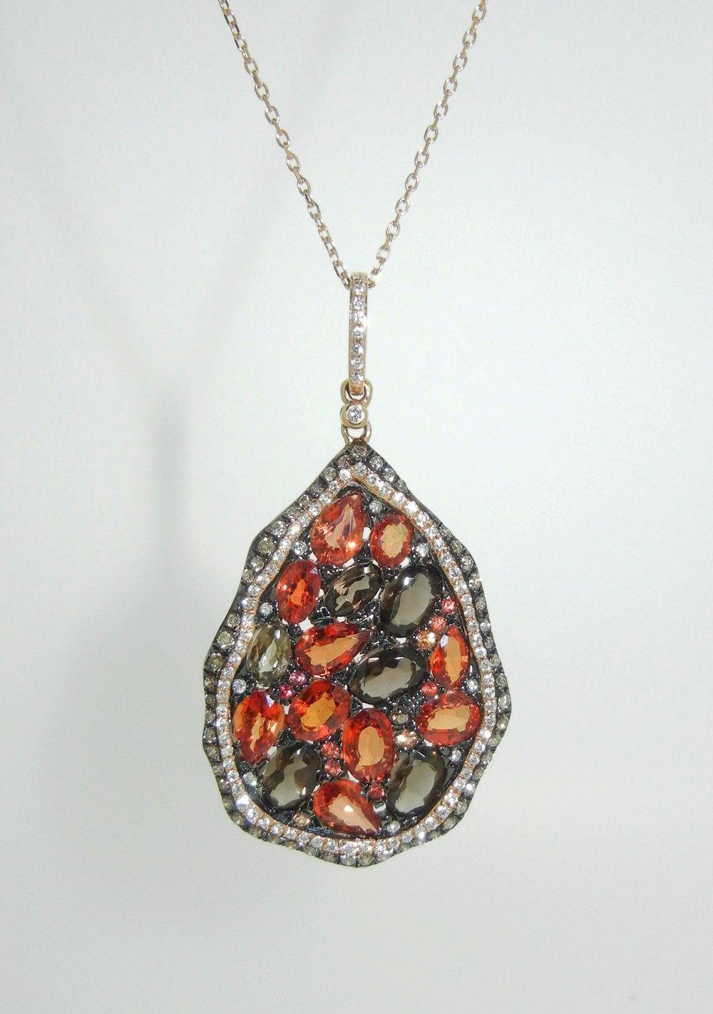 Sapphire, Diamond, and Quartz Pendant set in 18K Rose Gold $3,350