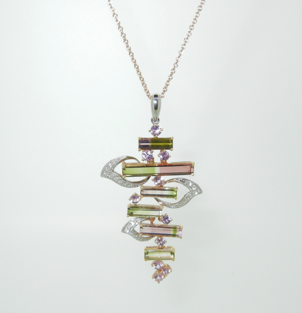 Tourmaline and Diamond Pendant set in 18K Rose Gold $3,400