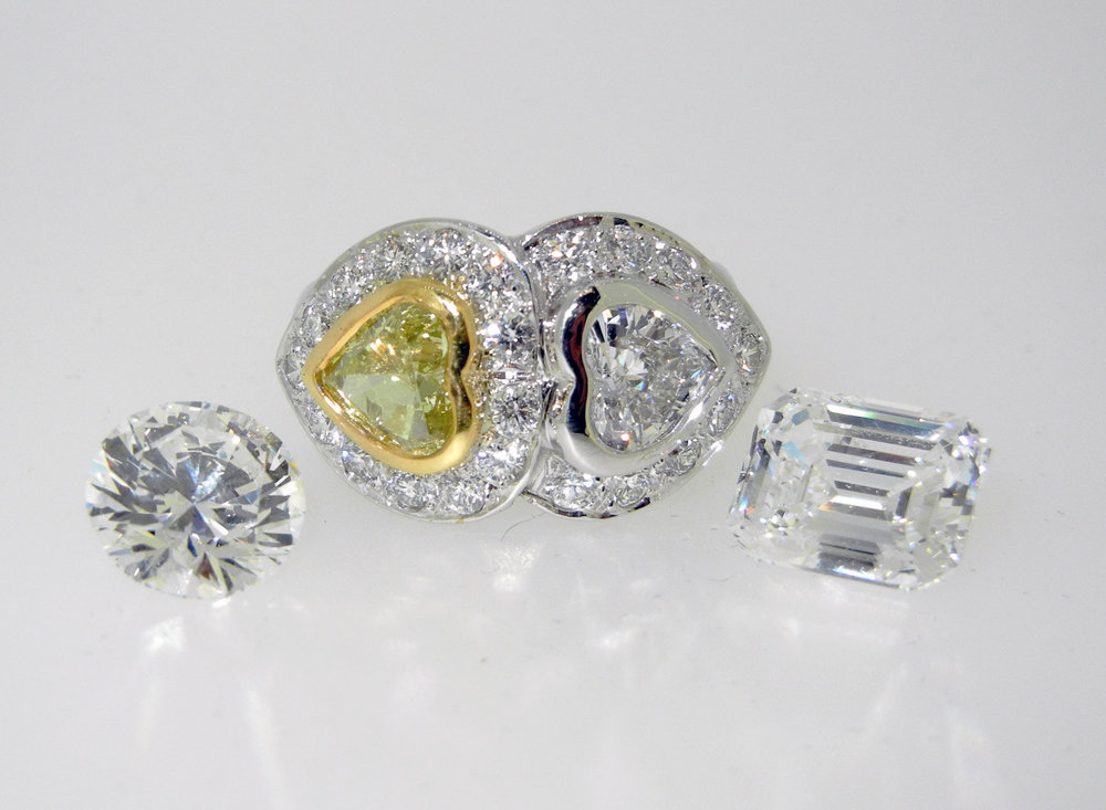18k Double Heart Ring 1.09ct Yellow Heart Diamond .78 White Heart Diamond $18,500