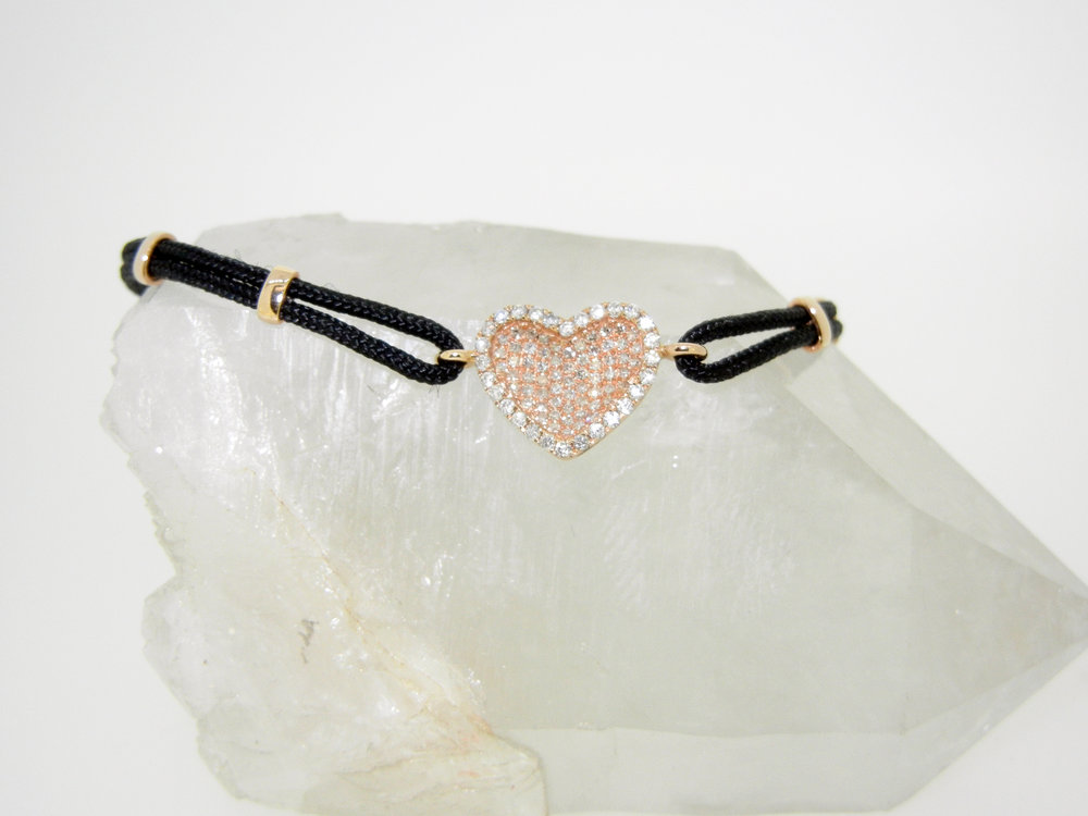 14k White Gold Pave Diamond Heart on Cord Bracelet $1,225