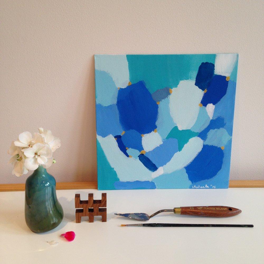 """Blue Sky"", acrylic on cardboard, 30X30 cm"