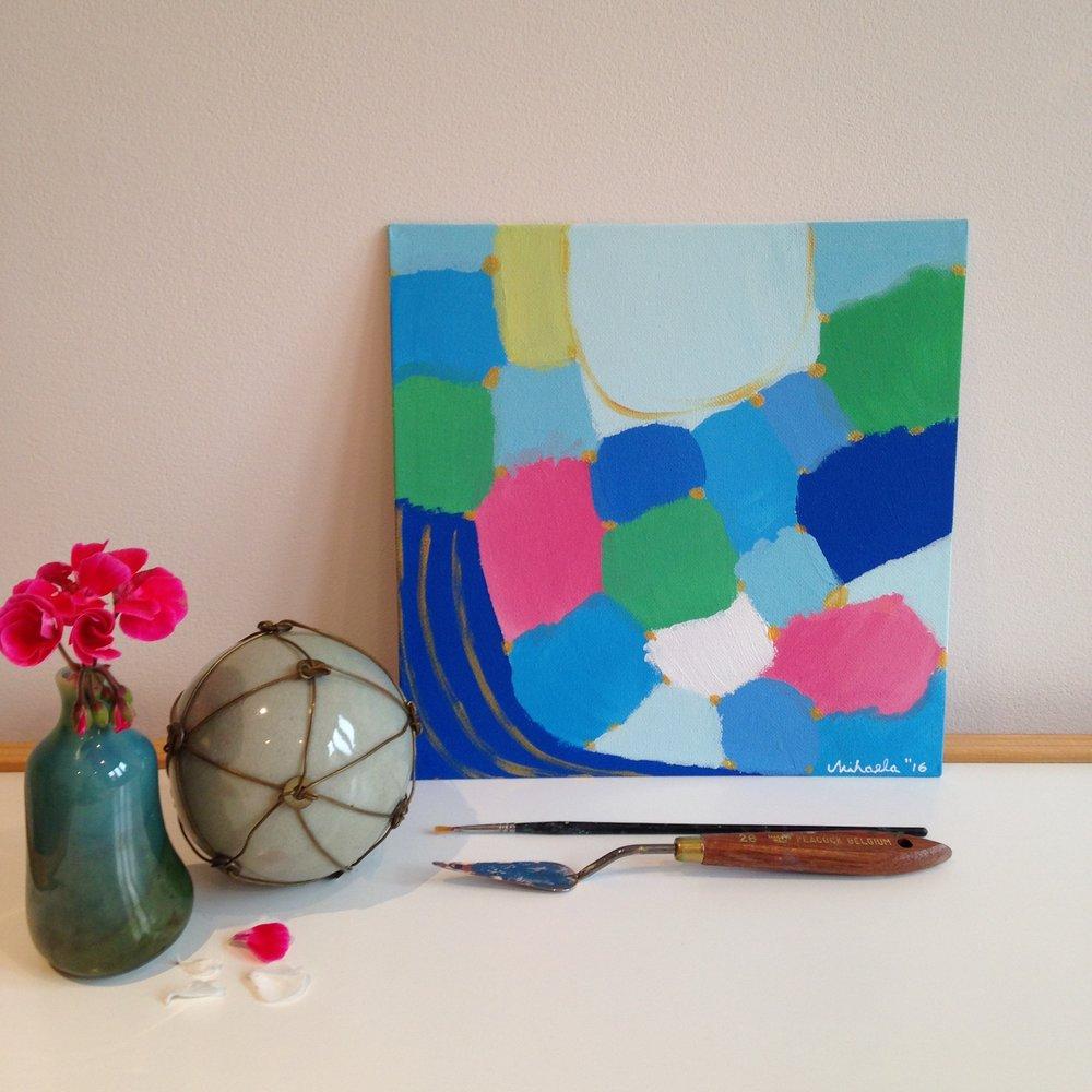 """Blue River"", acrylic on cardboard, 30X30 cm"