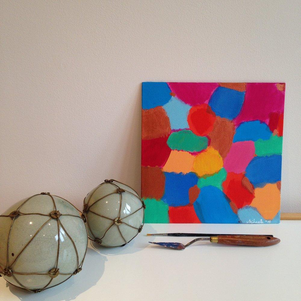 """Together"", acrylic on cardboard, 30X30 cm"
