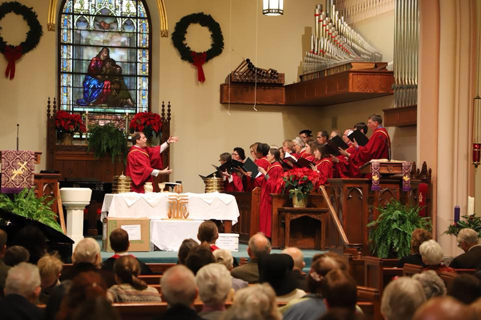 Jordan conducts the Govans Presbyterian Church Choir, December 2017.
