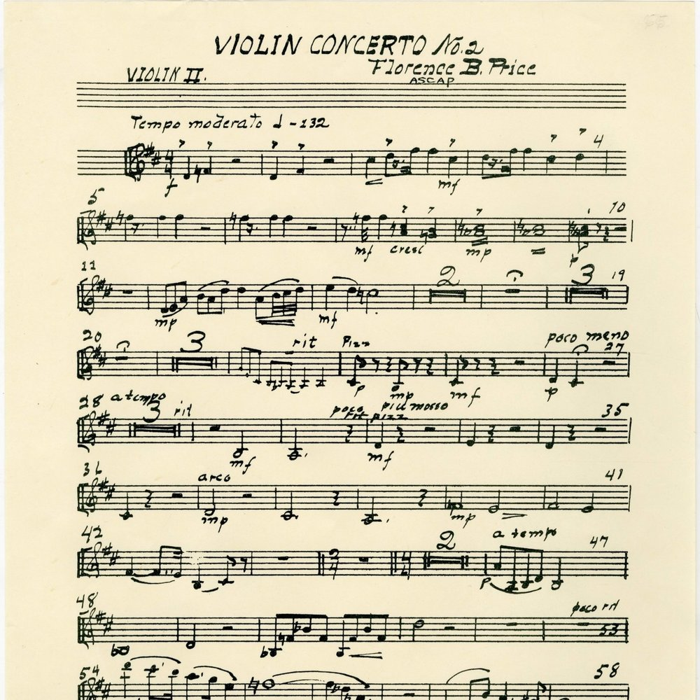 Original violin 2 part for Price's Violin Concerto No. 2.