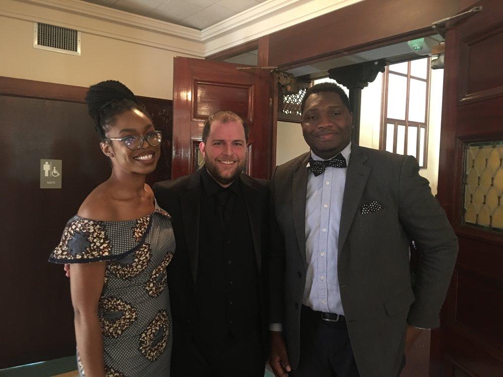 Jordan Randall Smith with concert attendees Ozi and John. September 30, 2018