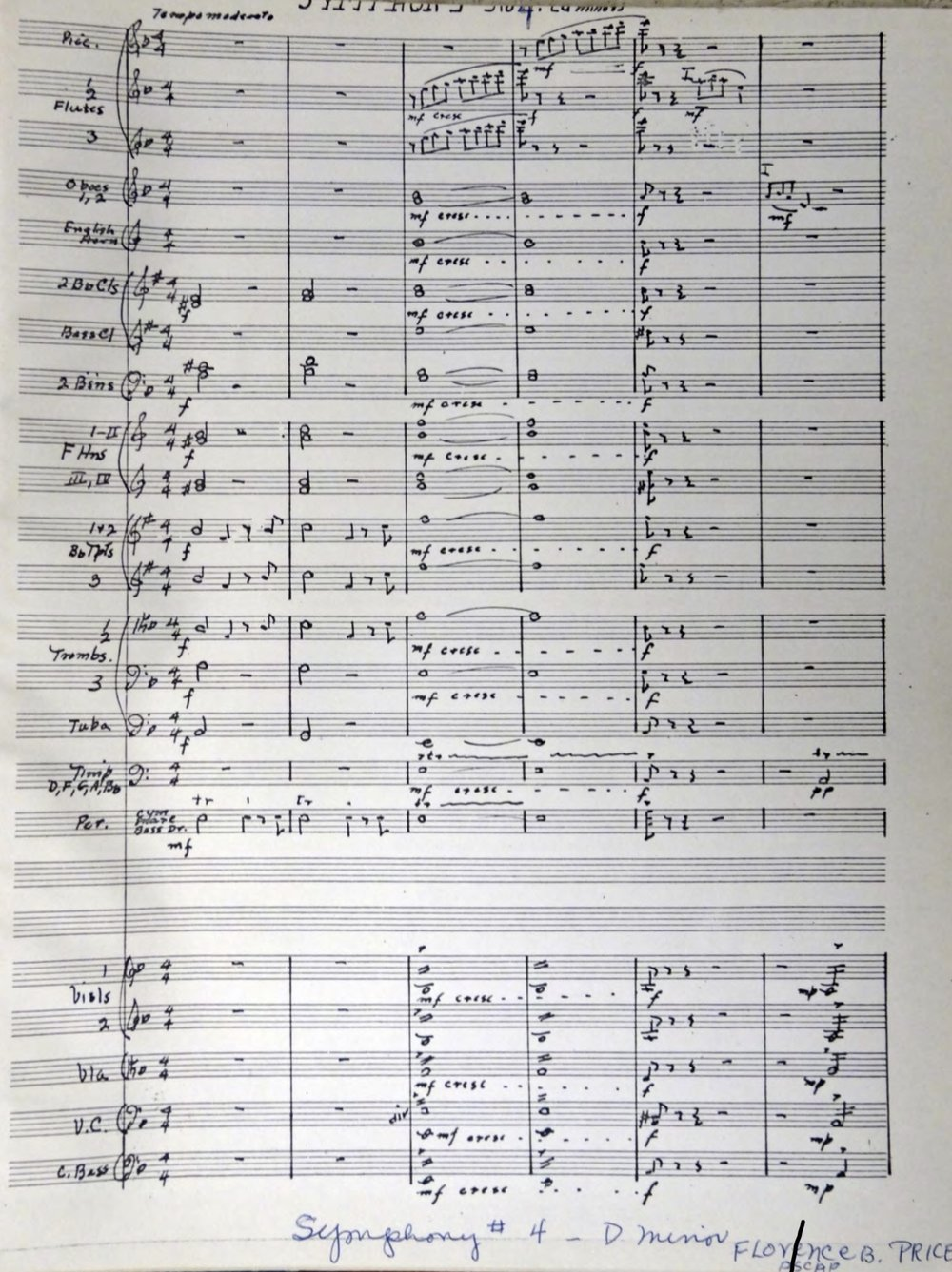 First page of the manuscript for Price's Symphony No. 4