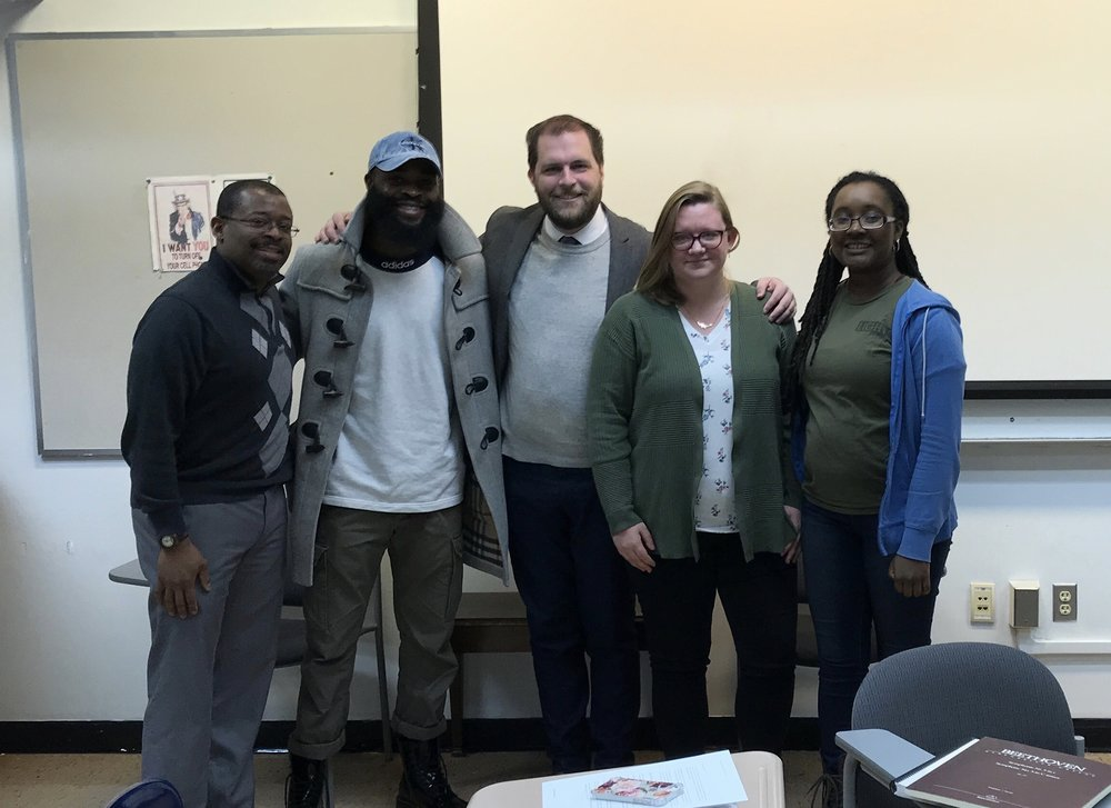 Pictured with the Advanced Composition Seminar at Morgan State University. From left to right: Dr. James Lee III, Victor Ntam, Jordan Randall Smith, Caite Debevec and Raejéan N. Hill.