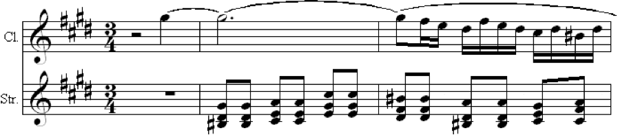 Fig. 7a. Clarinet Melody Over String Accompaniment (Op. 68, mvt. 3, m. 39)