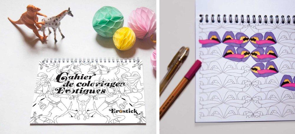 Ludique et rigolo - c'est le cahier de coloriage érotique... 20 pages, 16€- à découvrir en boutique uniquement