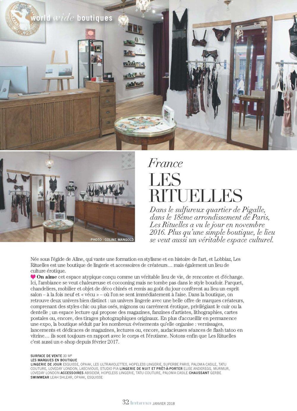 Article sur Les Rituelles - magazine Intima - Janvier 2018